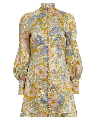 Super Eight Floral Brocade Dress, BEIGE FLORAL, hi-res