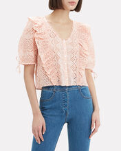 Kim Eyelet Cotton Top, PINK, hi-res