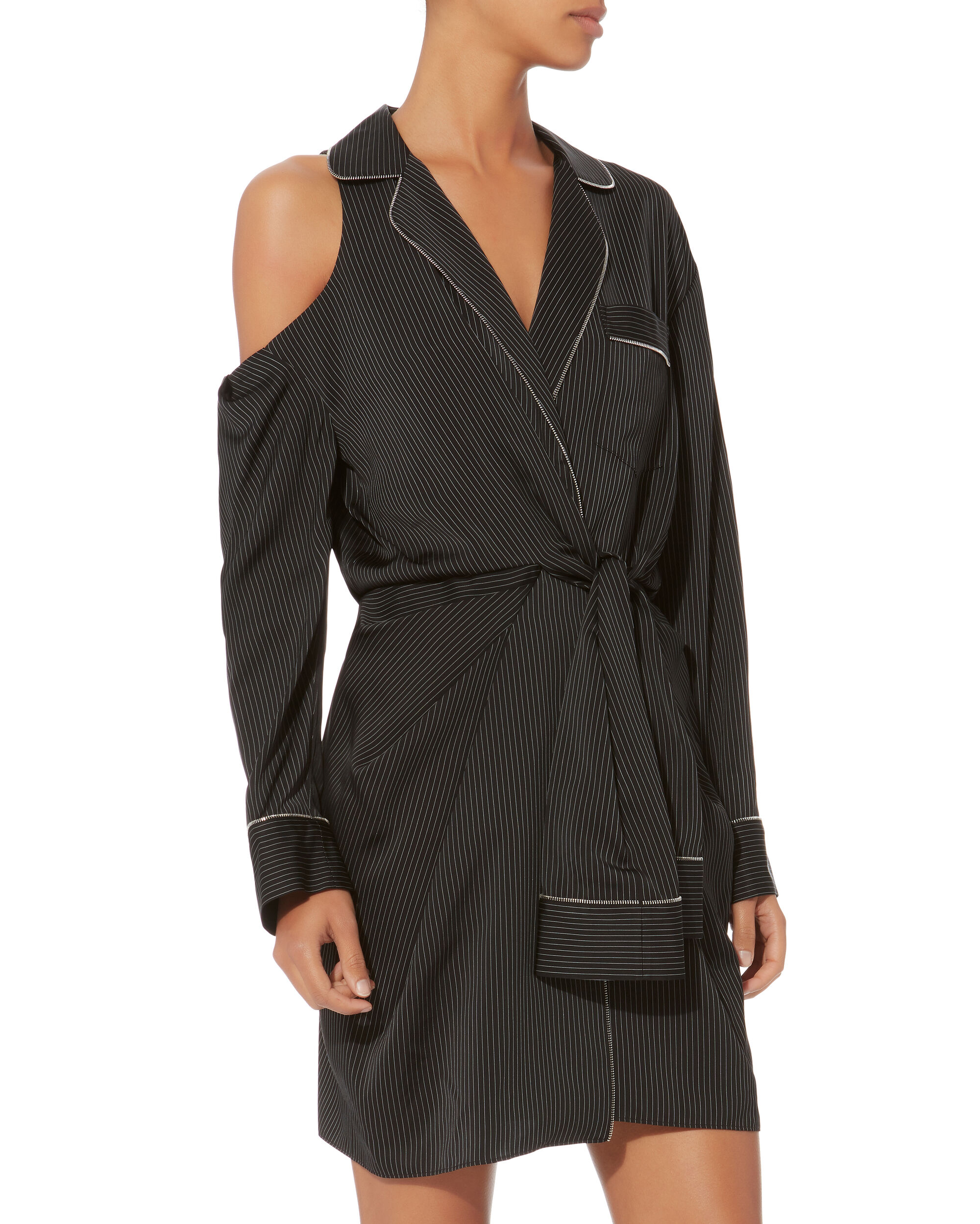 Pajama Silk Wrap Dress, BLACK, hi-res