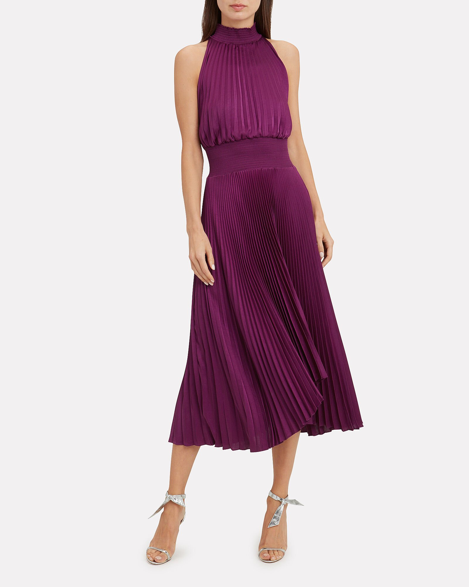 Renzo Orchid Pleated Midi Dress, ORCHID, hi-res