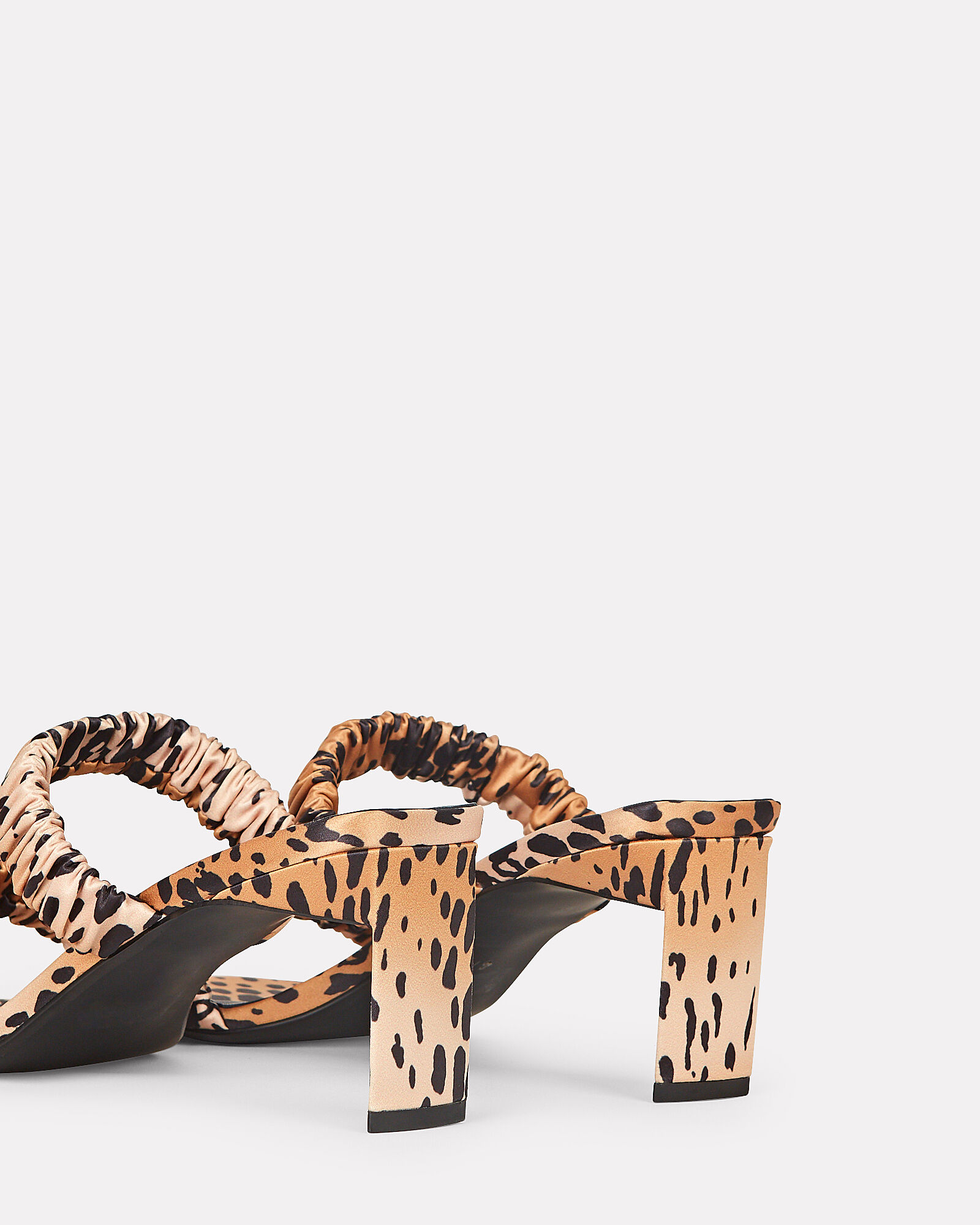 Luna Ruched Leopard Satin Sandals, BEIGE/BLACK, hi-res