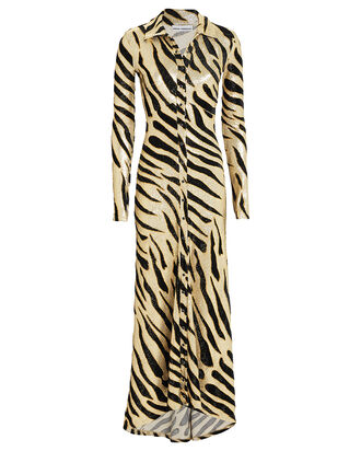 Tiger Print Metallic Dress, GOLD/TIGER PRINT, hi-res