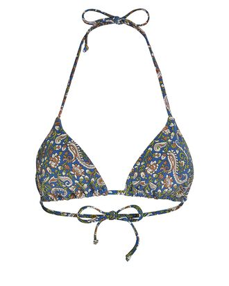 Cala Paisley Triangle Bikini Top, BLUE, hi-res