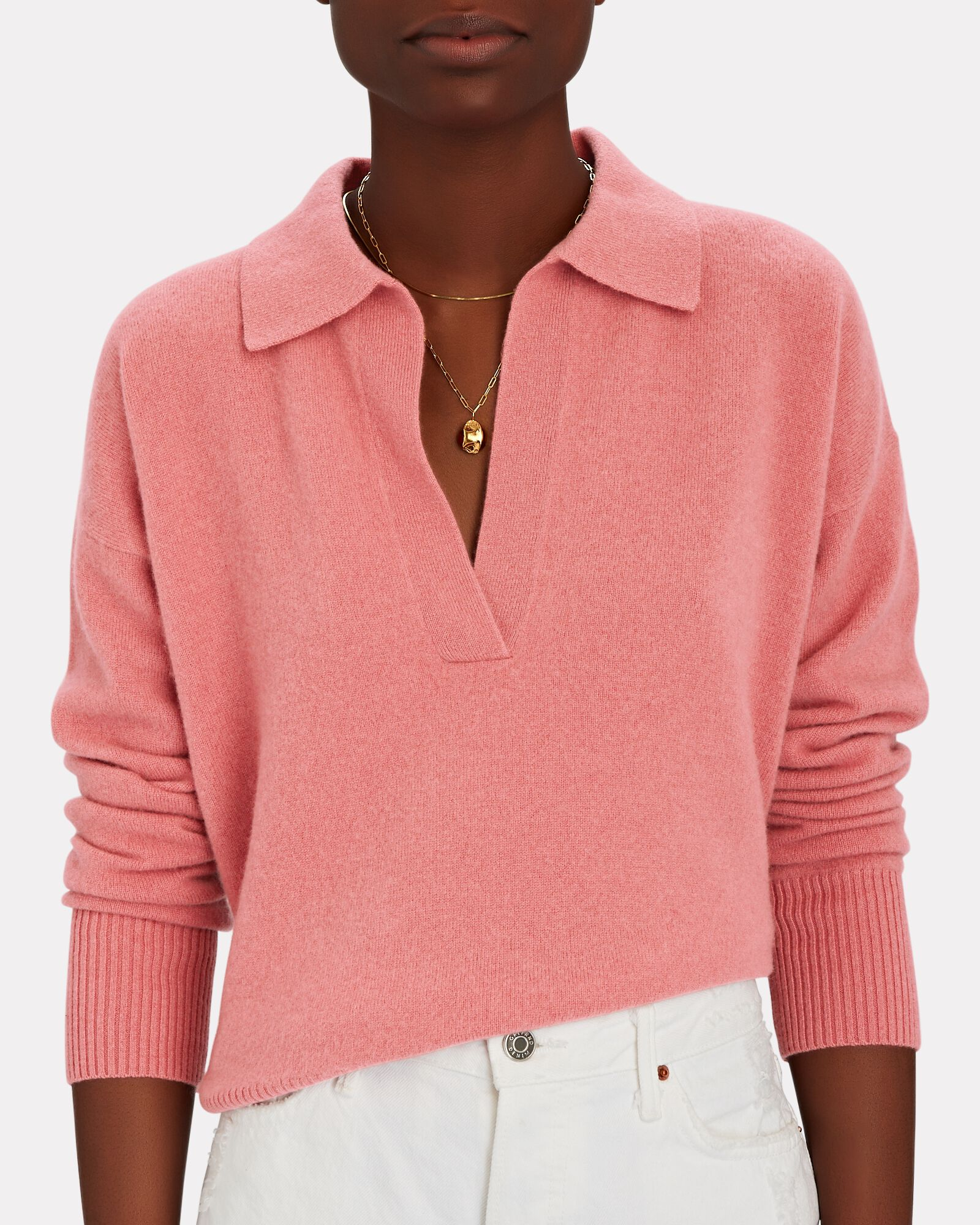 Hillary Cashmere Polo Sweater, PINK, hi-res