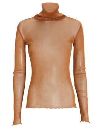 Shimmer Organza Turtleneck Top, BROWN, hi-res