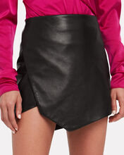 Leather Slit Side Mini Skirt, BLACK, hi-res