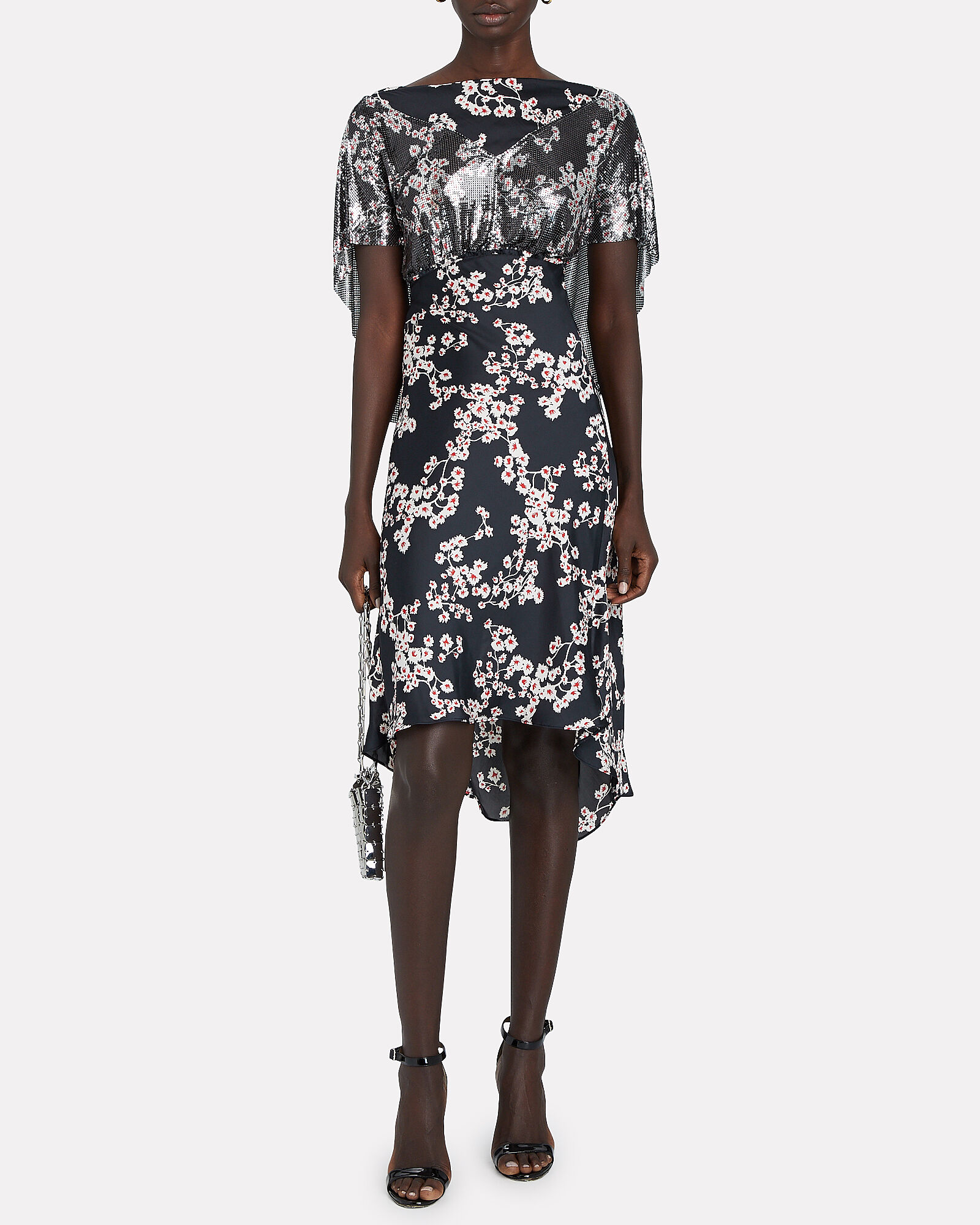 Chainmail-Trimmed Floral Dress, BLACK, hi-res
