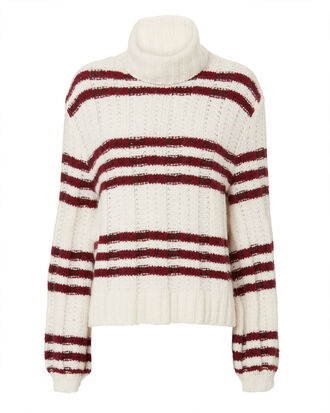 Zaira Striped Turtleneck Sweater, WHITE, hi-res
