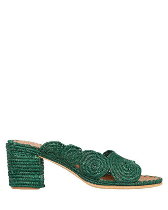 Ayoub Raffia Block Heel Sandals, GREEN, hi-res