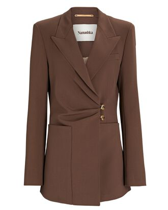 Leda Wrap Waist Cady Blazer, BROWN, hi-res