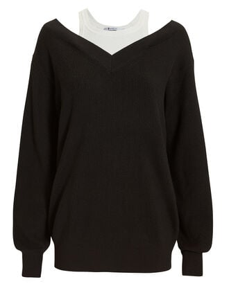Bi-Layer Off Shoulder Sweater, BLACK, hi-res