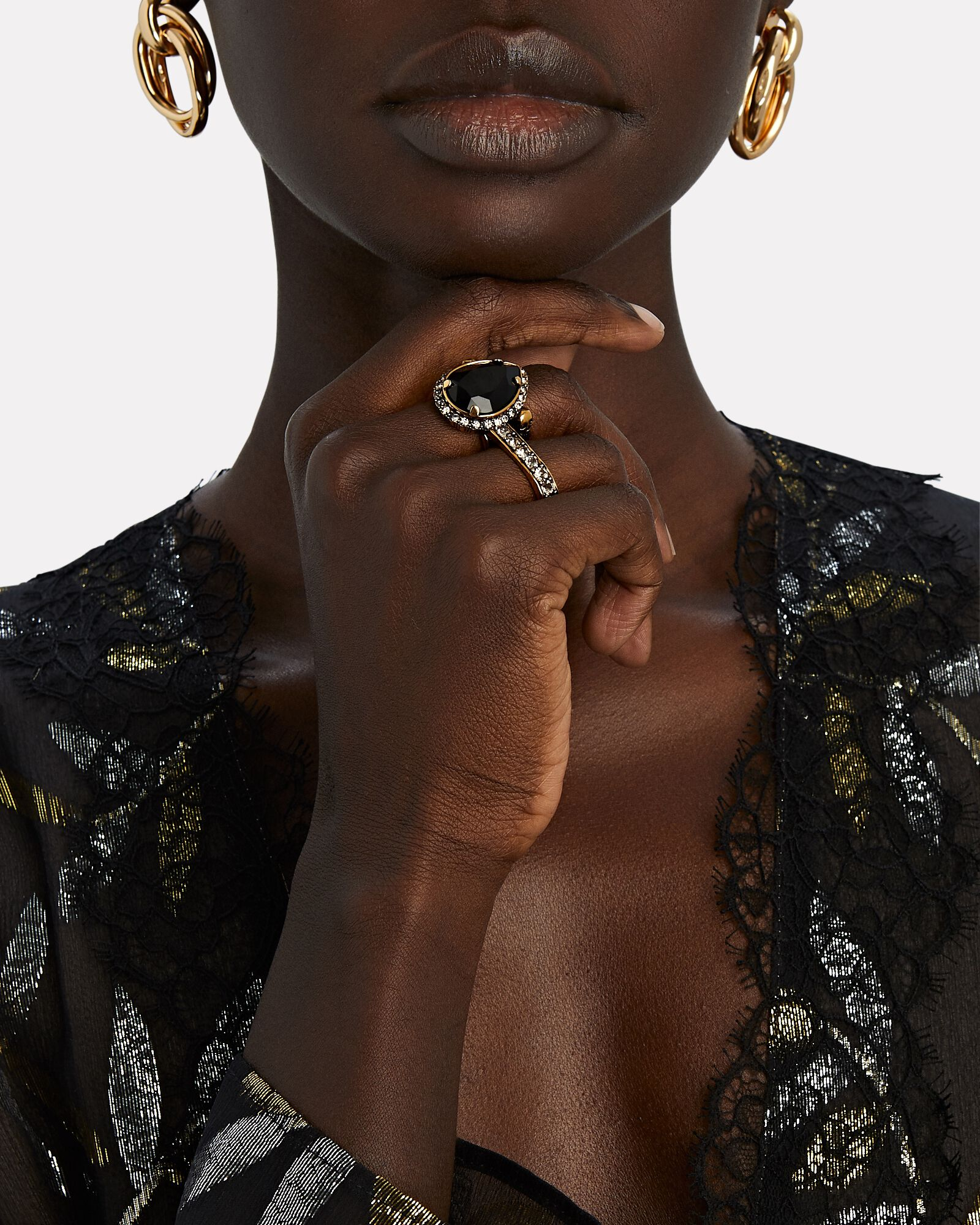 Jewel Double-Finger Ring, GOLD, hi-res