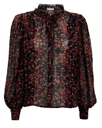 Edith Lurex Floral Chiffon Blouse, MULTI, hi-res
