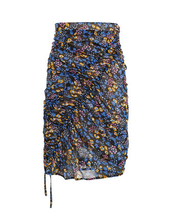 Floral Stretch Ruche Skirt, BLUE/YELLOW/FLORAL, hi-res