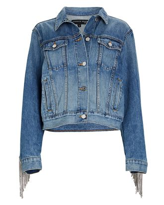 Kinley Rhinestone Fringe Denim Jacket, DENIM, hi-res