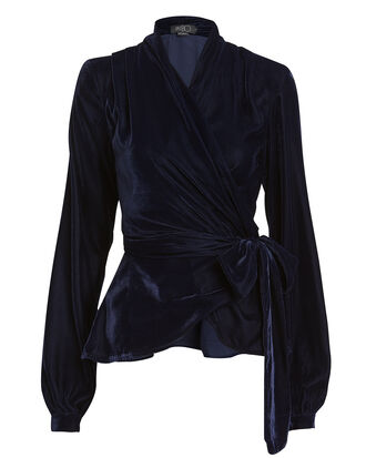 Velvet Wrap Top, NAVY, hi-res
