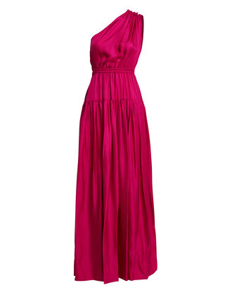 Nari One-Shoulder Silk Dress, MAGENTA, hi-res