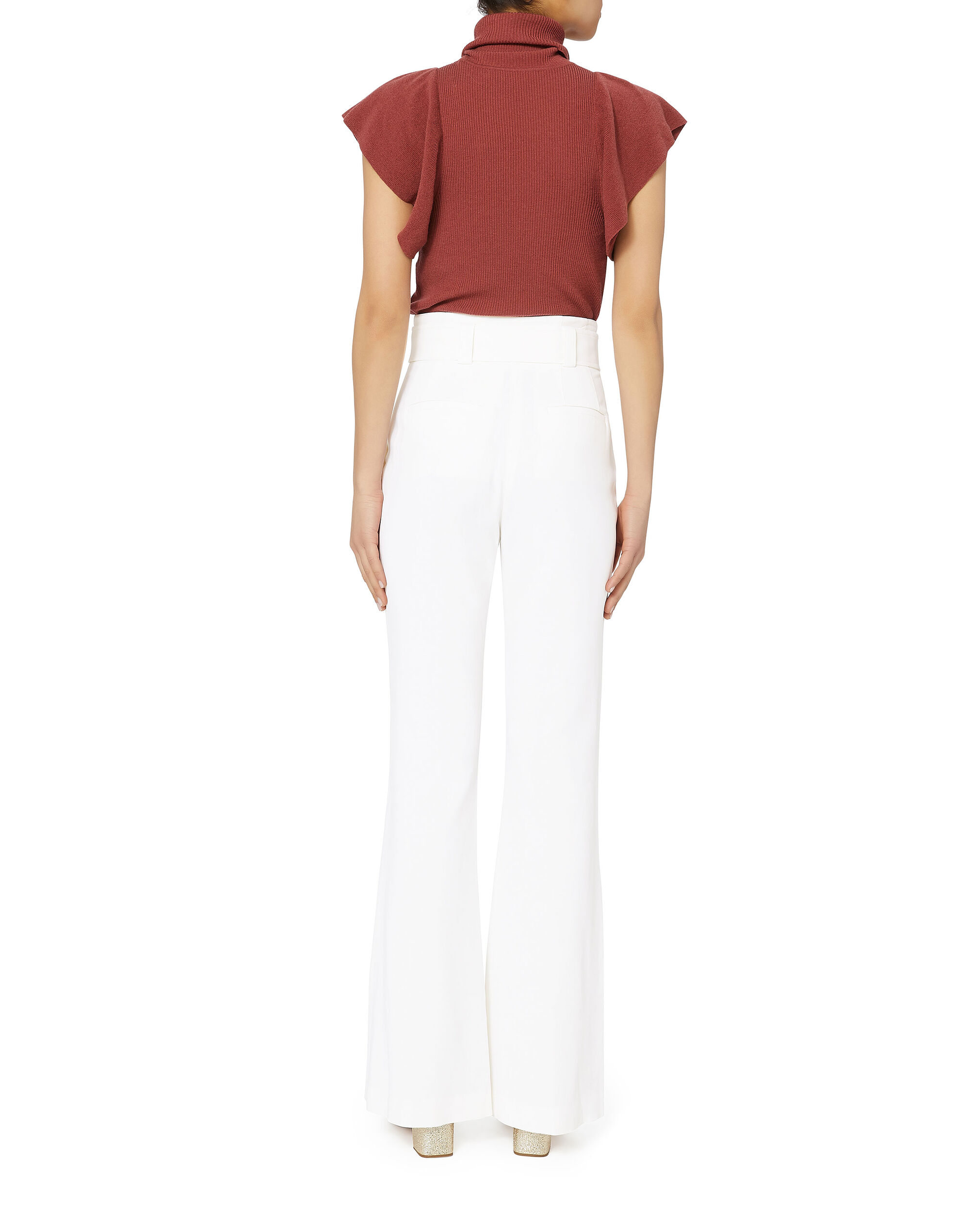 Foster Belted Wide Leg White Pants, WHITE, hi-res