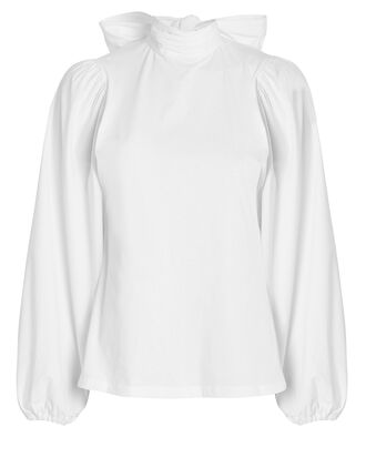 Kat Tie Neck Blouson Top, WHITE, hi-res