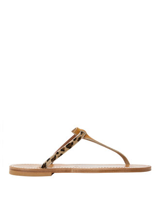 Leopard Haircalf Leather Sandals, BROWN, hi-res