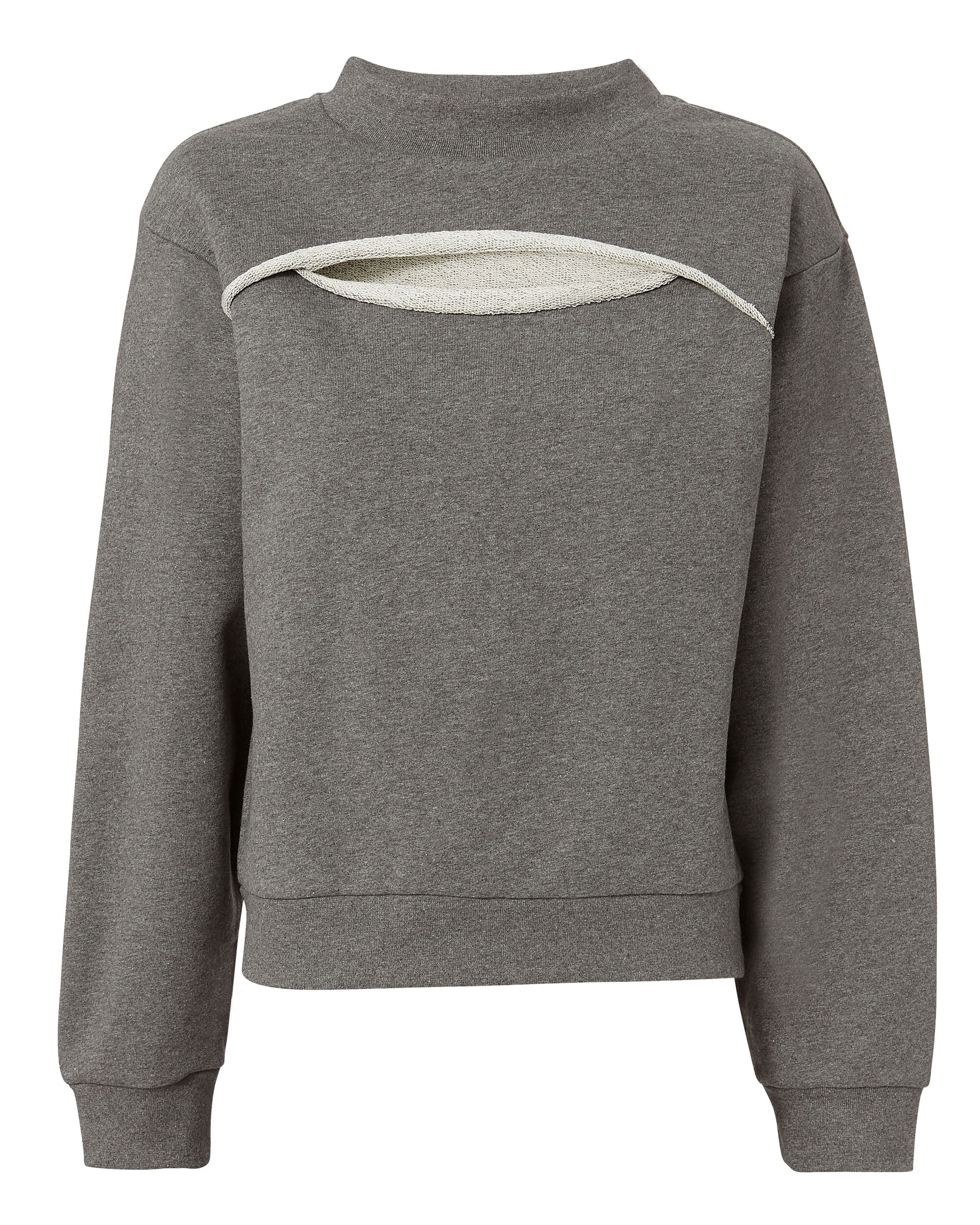 Slit Front Sweatshirt, GREY, hi-res