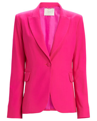Wool Notched Lapel Blazer, HOT PINK, hi-res