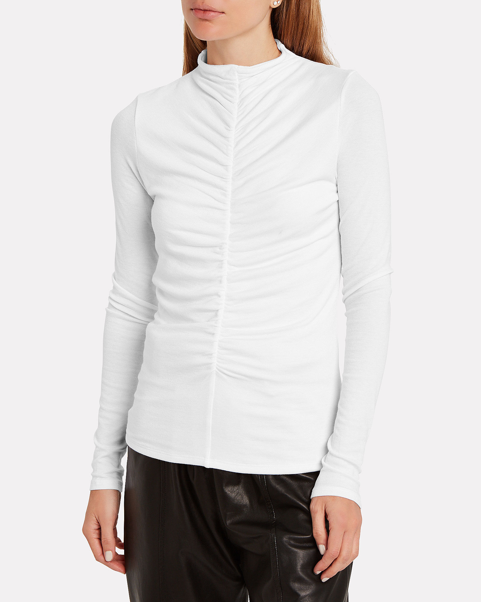 Theresa Ruched Turtleneck Top, WHITE, hi-res