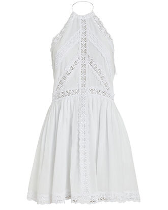 Kim Lace-Trimmed Cotton Dress, WHITE, hi-res