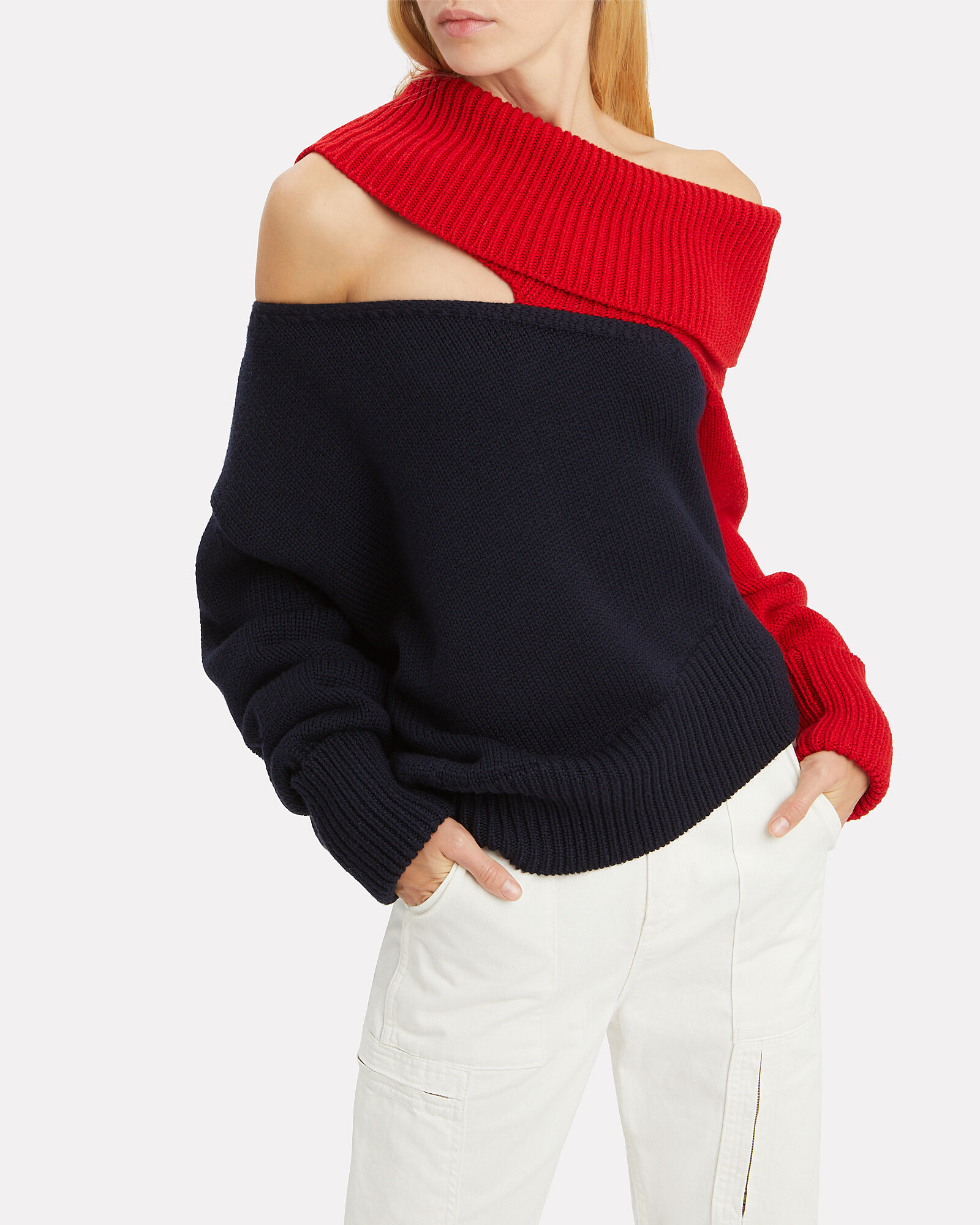 Two-Tone Slashed Sweater, MULTI, hi-res