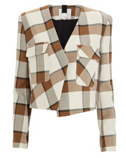 Dylan Cropped Plaid Blazer, BROWN/WHITE/PLAID, hi-res