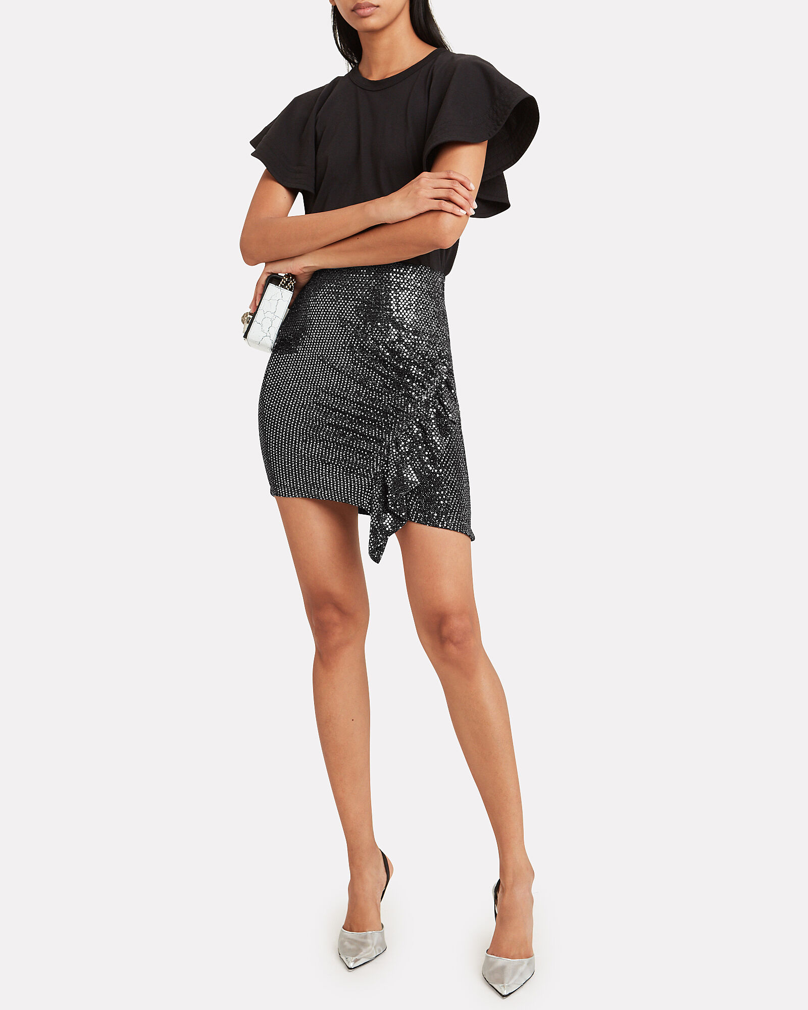 Lilie Sequin-Embellished Mini Skirt, BLACK, hi-res
