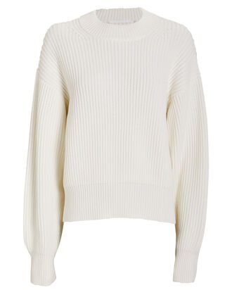 Wool Cotton Crewneck Sweater, ECRU, hi-res