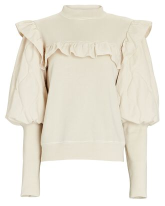 Layla Quilted Puff Sleeve Sweatshirt, IVORY, hi-res