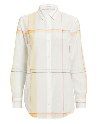 Windowpane Button Down Shirt, WHITE/RED/YELLOW, hi-res