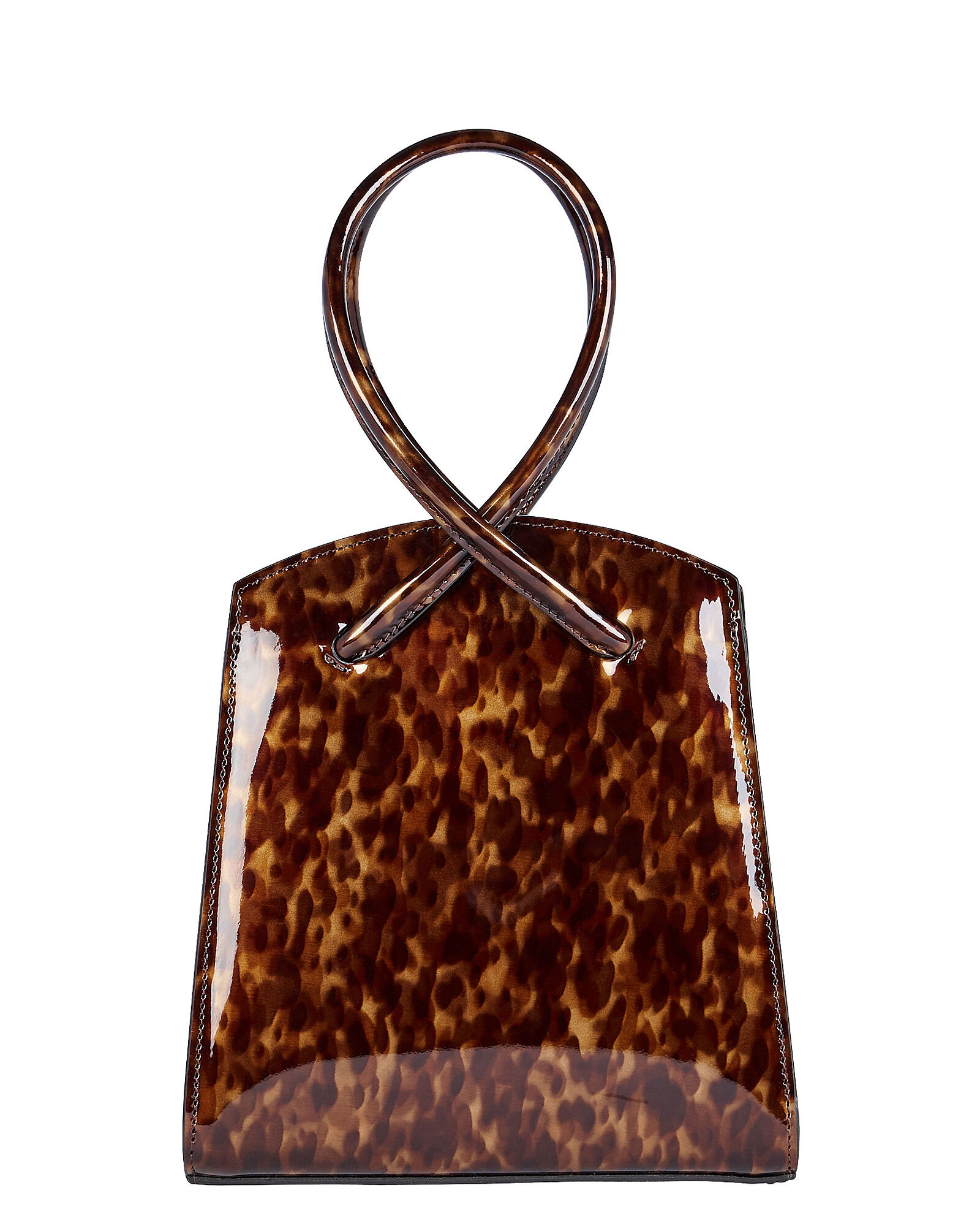 Twisted Patent Leather Mini Wristlet, BROWN, hi-res
