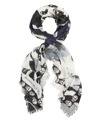 Torn Rose Mini Skull Scarf, NAVY/WHITE, hi-res