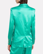 Double-Breasted Satin Blazer, TURQUOISE, hi-res