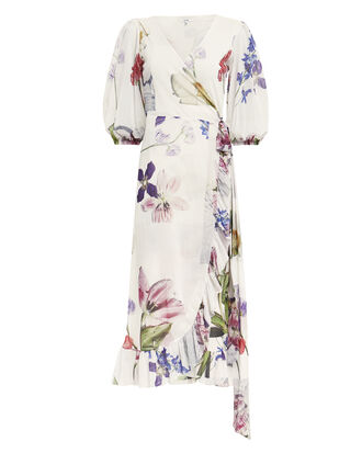 White Floral Mesh Wrap Dress, WHITE FLORAL, hi-res