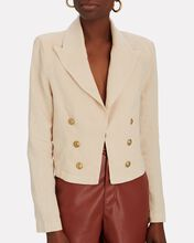 Dolly Cropped Double-Breasted Linen Blazer, BEIGE, hi-res
