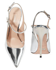 Silver Leather Slingback Sandals, SILVER, hi-res