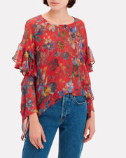 Floral Print Asymmetrical Blouse, RED, hi-res