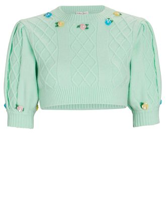 Sutton Cropped Floral Embroidered Sweater, LIGHT GREEN, hi-res