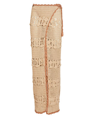 Adele Crochet Cotton Wrap Skirt, BEIGE, hi-res