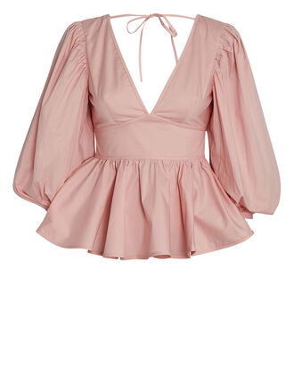 Luna Poplin Puff Sleeve Top, PINK, hi-res