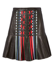 Mattie Leather Mini Skirt, BLACK, hi-res