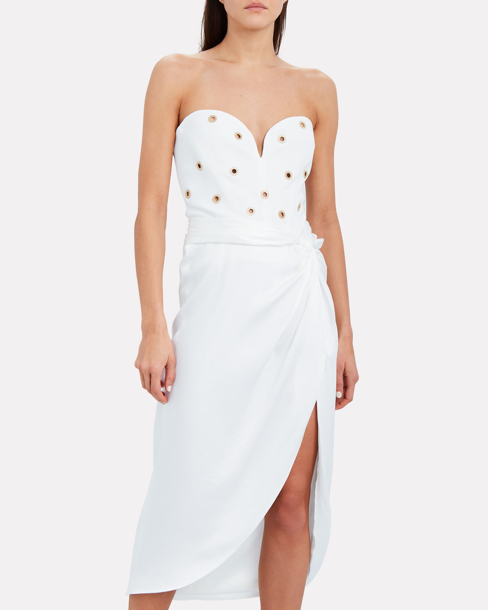 Chain Eyelet Bustier Dress, WHITE, hi-res