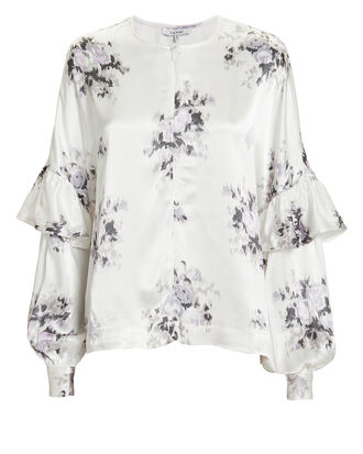 Cameron Floral Blouse, IVORY, hi-res