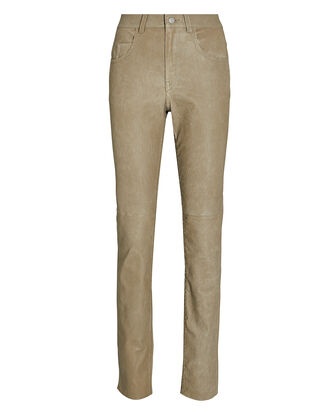 Taro Skinny Leather Pants, BEIGE, hi-res