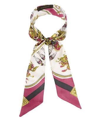 Equestrian Print Twilly Scarf, PINK, hi-res
