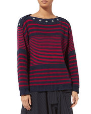 Oversized Striped Cotton Knit Sweater, NAVY, hi-res